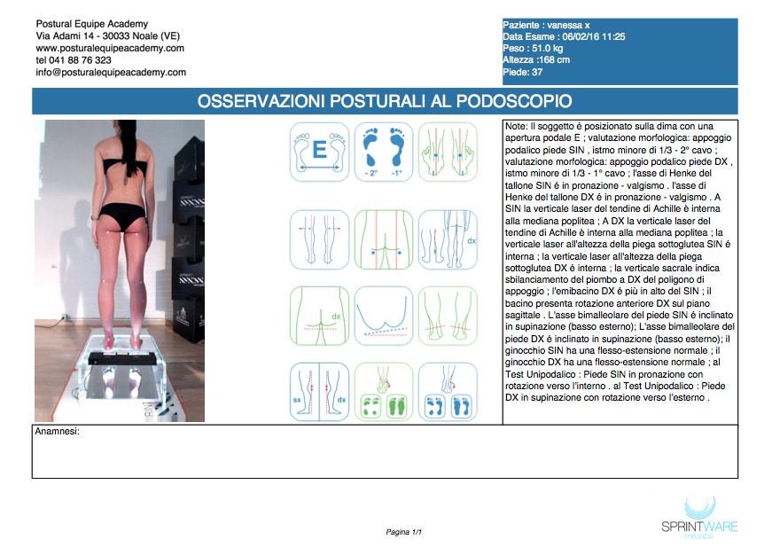 Esempio di referto dell'esame al Podoscopio